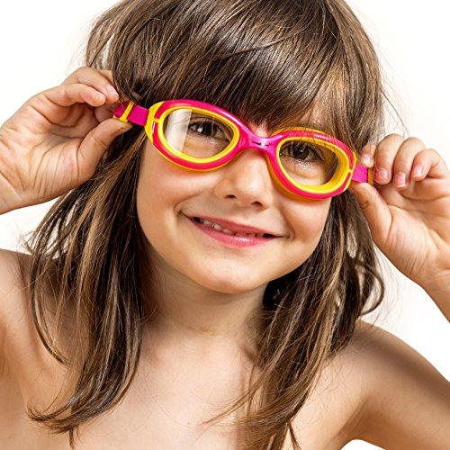 AqtivAqua Gafas de natación para niños niño y niña (de 2 a 12 años) (Rosa/Amarillo)