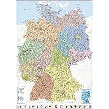 Close Up Politische Landkarte Deutschland 2018 - XXL Deutschlandkarte 100x140 cm - Premium Poster- 1:660.000