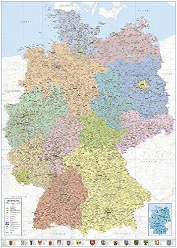 Close Up Politische Landkarte Deutschland 2018 - XXL Deutschlandkarte 100x140 cm - Premium Poster- 1:660.000 -