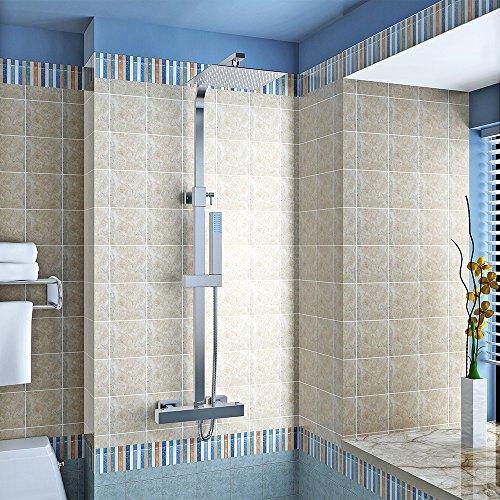 Panana mehrfunktional Duschsystem mit Thermostat Chrome Eckig Duschbrause Handbrause Brause Duscharmatur Überkopfbrause Regendusche Regenbrause mit Duschpaneel - 250MM
