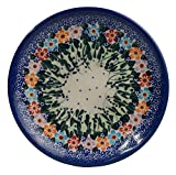 Traditionelle Polnische Keramik, handgefertigte Desserteller, ein Kuchenteller mit Muster im Bunzlauer Stil ?17cm, T.101.DAISY