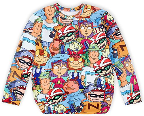 Thenice - Sweat-shirt spécial grossesse - Imprimé Animal - Col Rond - Femme Taille Unique Animated characters