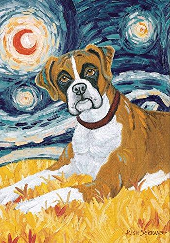 Toland Home Garden Van Growl Boxer 31,8 x 45,7 cm Dekorative Welpen-Hund, Porträt, Sternennacht Garten Flagge - Boxer Garden Flag