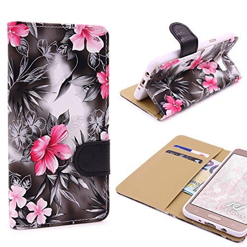 Urcover® Samsung Galaxy J7 (2016) Blumenmuster Handy Schutz-Hülle mit [ Kartenfächer & Easy Stand-Funktion ] Kunststoff in Schwarz | Rundum-Schutz Case | Cover | Lady Wallet | Etui Schale | Kompllet-Tasche | Zubehör Handyhülle