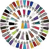 Satinior 100 Piezas 40 mm Colgantes de Borlas de Cuero Borlas de Ante Sintético con Tapas para Llavero Correa Accesorios de Manualidades, 20 Colores