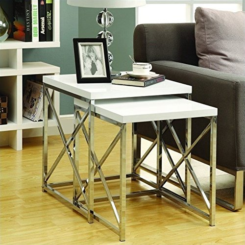 Monarch Specialties Glossy White and Chrome Metal Nesting Table Set, 2-Piece by Monarch Specialties -