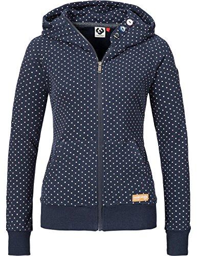 Ragwear Damen Jacke Sweatjacke Übergangsjacke Chelsea Zip (vegan hergestellt) Navy/Rosa Gr. S