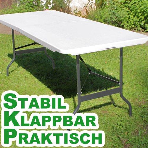 Deuba Buffettisch Klappbar 182cm Kunststoff weiss – Campingtisch Gartentisch Bierzeltgarnitur