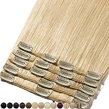 Extensiones de cabello auténtico con clip, 8 bandas de pelo humano Remy para la cabeza completa, set liso de 20-60cm de largo 25cm-75g #613 Biondo Chiarissimo