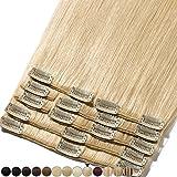 Clip In Extensions Haarverlängerung für komplette Remy Echthaar Glatt 105g - 50cm #613 Hellblond