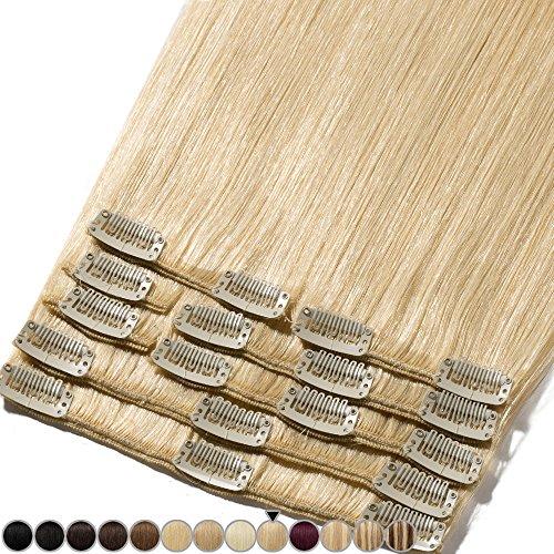 Extension Cheveux Naturel a Clip Blond #613 Blond très clair - Volume Moyen 8 Pcs - 100% Human Hair Extensions Clip in Remy 25cm-70g
