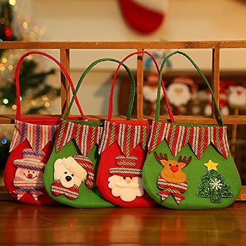 XJoel regalo di Natale Treat Bag Natale Candy Bag Buon Natale della decorazione della casa Set di 4