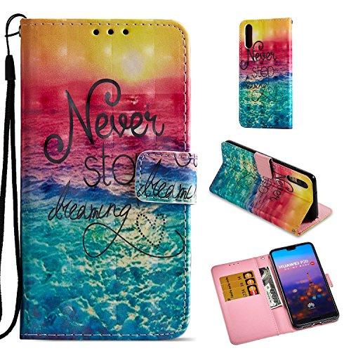 Roreikes Case for Huawei P20 Hülle,3D Farbe Muster Leder Schutzhülle Stoßfest klappbar HandyHülle Brieftasche Ledertasche mit Ständer Bumper Magnetverschluss [Kartenhalter] Compatible for Huawei P20