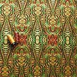 Espejo Kaleidoscope Tribal Verde y Rojo Único elástico jersey Fashion tela–se vende por metro