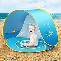 Tienda Playa Bebe,CeeKii Refugio Playa para Bebé Infantil Niños Protección Solar Anti UV 50+ con Piscina ,Tienda Portátil Desmontable para Vacación Playa–Azul