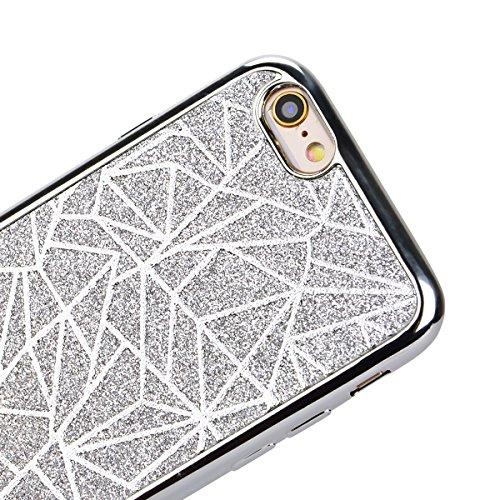 SMARTLEGEND Silicone Morbido Cover Per iPhone 6, Anti-Graffio TPU Case Cover, Ultra Glitter Protettiva Guscio Protettivo, Anti-Shock Soft Cover, Durevole Soft Case - Oro Argento
