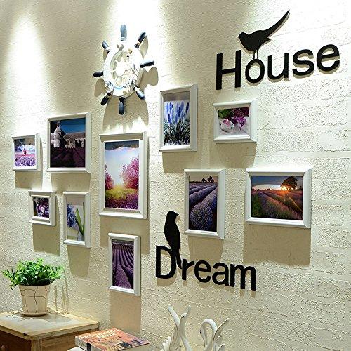 HJKY Foto-Rahmen-Wand-Satz Foto-Wand-Foto-Rahmen-modernes einfaches europäisches kreatives Rahmen-Quadrat-Gaststätte-Schlafzimmer-Wand FARBE-FELD-VERGLEICHEN-WINKEL, WEISSES WEISS