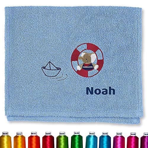 Sterntaler Kinder/Baby Handtuch bestickt mit Namen Elefant Erwin & Boot Blau Junge, Kinderhandtuch personalisiert für Jungs