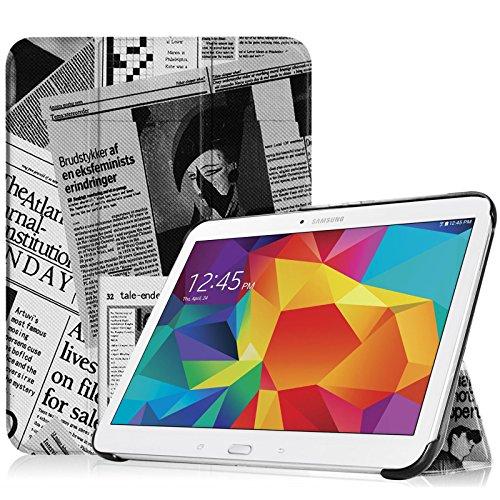 Fintie Samsung Galaxy Tab 4 10.1 Hülle Case - Ultra Schlank Superleicht Ständer Smart Shell Cover Schutzhülle Etui Tasche mit Auto Schlaf / Wach Funktion für Samsung Galaxy Tab 4 10.1 SM-T530 SM-T535 (nicht geeignet für Samsung Galaxy Tab 3 10.1), Zeitung