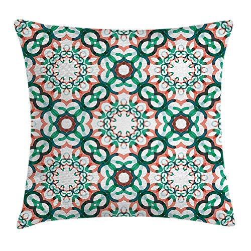 FPDecor Circle Decor Kissenbezug, by, Round Shapes Made of Short Lines Geometric Decorative Pattern, Decorative Square Accent Pillow Case, 18 X 18 Inches, Coral Jade and Forest Green -