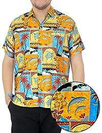 La Leela 4 en 1 dauphins tourbillonnent soft thème plage casual partie bureau vacances bouton manches régulières ajustement court vers le hawaïen robe chemise orange camp avant poche des hommes