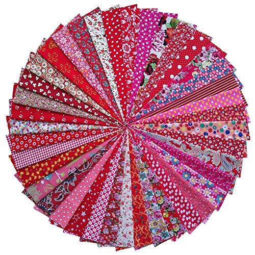 grannycrafts, 20x 30cm (20x 30cm) Top Craft Stoff gedruckt Bundle aus Baumwolle Patchwork Fusseln Print Tuch Stoff Tissue DIY Nähen Scrapbooking Quilten rot