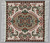 Miniatur Teppich, reines Polyester, für Krippe, Puppenhaus. Rot Grau. 6,5x6,5 cm