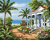 DIY Vorgedruckt Leinwand-Ölgemälde Geschenk für Erwachsene Kinder Malen Nach Zahlen Kits mit Holzrahmen Home Haus Dekor - Boracay 15.75 * 19.69 inch