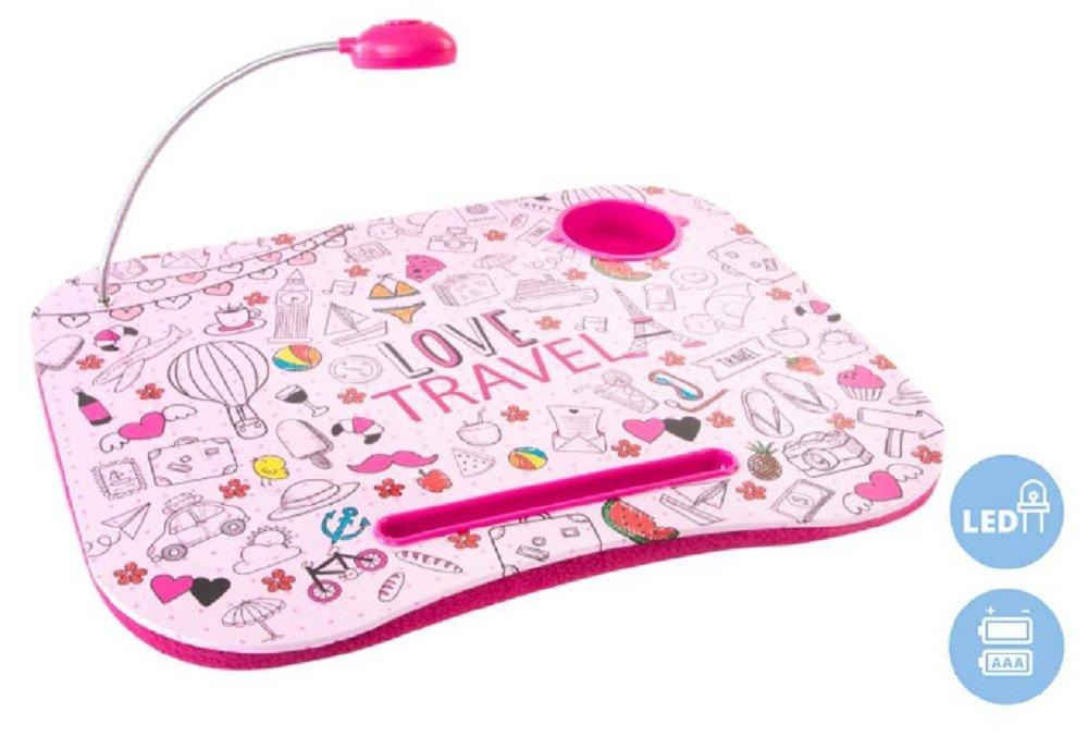 Original Vassoio con luce di ledpara portatile imbottita disegno Love Travel