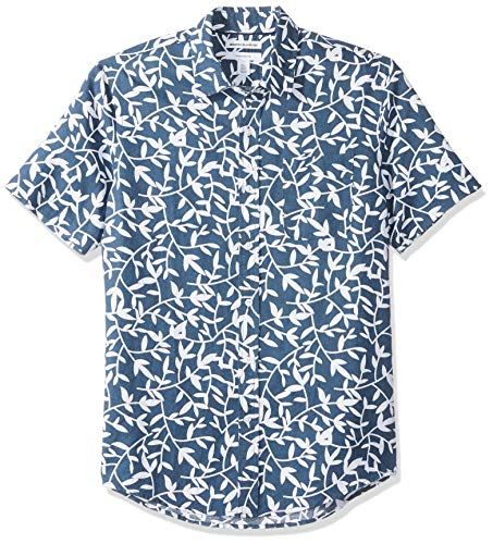 Amazon Essentials Slim-Fit Short-Sleeve Stripe Linen button-down-shirts, Navy Leaf Print, US XXL (EU XXXL-4XL) -