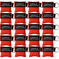 LSIKA-Z CPR Mask, Pack of 20Pcs CPR Face Shield Keychain (RED-20)