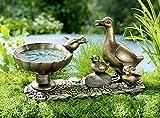 Vogeltränke aus Kunststein Ente Figur Garten Vogelbad Dekoration bronze Optik NEU