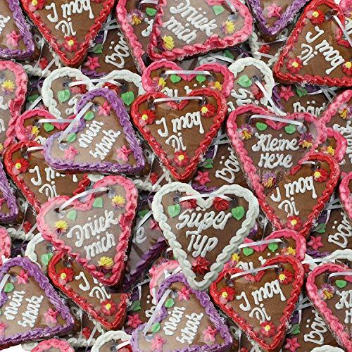 Lebkuchen Herzen Mischkarton mit versch. Sprüchen - 14cm - 50 Stück Lebkuchenherzen als Dekoration für Oktoberfest Mottoparty - Lebkuchenherz online günstig kaufen