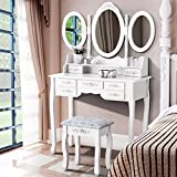 White Dressing Tables With Mirror and Stool, UEnjoy Vanity Table Makeup Desk 7 DRAWERS | 3 MIRRORS