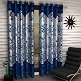 Homefab India Panel darbar Modern 2 Piece Eyelet Polyester Long Door Curtain Set - 9ft, Blue