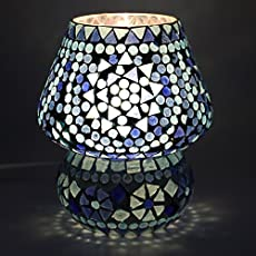 EarthenMetal Handcrafted Blue Coloured Crystal Dome Shaped Glass Table Lamp (Small Size 17 cm)