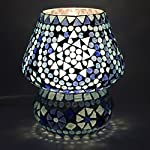 earthenmetal Handcrafted Blue Coloured Crystal Dome Shaped Glass Table Lamp (Small Size 17 cm, White)