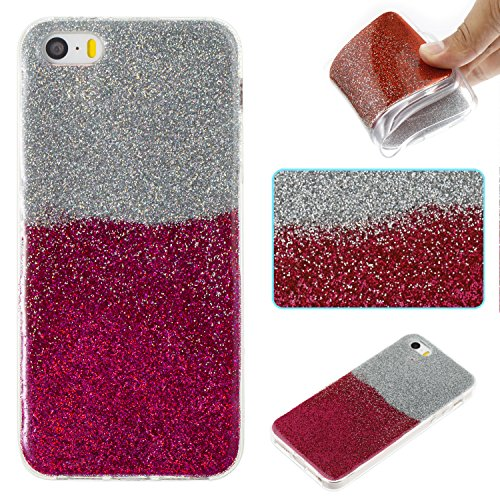 Custodia iPhone 5S / SE Cover iPhone 5S / SE Alfort Case Bicolor gradiente Morbida Silicone TPU Molle Impermeabile Prevenire Graffi Con polvere flash ( Argento - Oro ) Argento - Rosa rossa