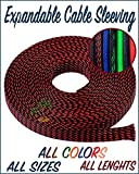 """Paradise Harbor 1/4"""" x 50 FT Black Red Expandable Braided Cable Sleeving Wire Cable Sleeving Wire Loom Wire Tubing Cable Tubing"""