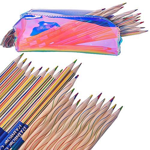 (FineInno 30 Stücke Regenbogen Buntstifte Zeichnung Bleistifte Regenbogen Crayon Buntstift 4 Farben in 1 Regenbogen Kern + Laser Fringe Federmäppchen (federmäppchen Zufällige Farbe) (30 pcs buntstift))