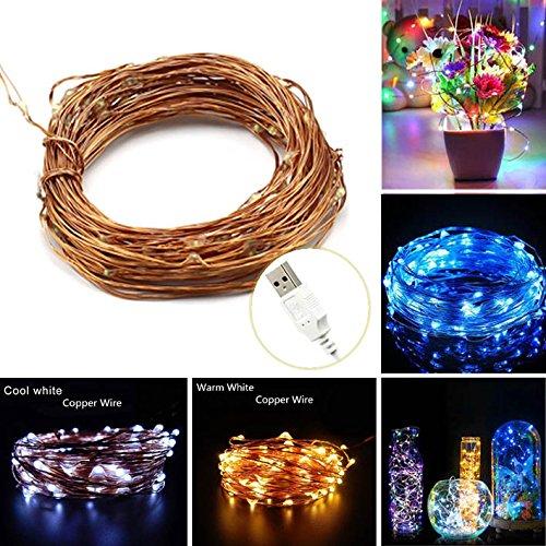 LAOMAO 10M wasserdicht Lichterkette 100 LED Biegsam String mit DV 12V USB Schalter für innen + außen Romantisch Feiertag, Weinachtslicht, Terrasse, Geburtstag, Haus, Party, Weihnachtsbaum, Dekodraht, Weihnachten Party(Mehrfarbig)