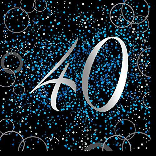 Unique Papierservietten mit Foliendruck für den 40. Geburtstag,blau,16er pack