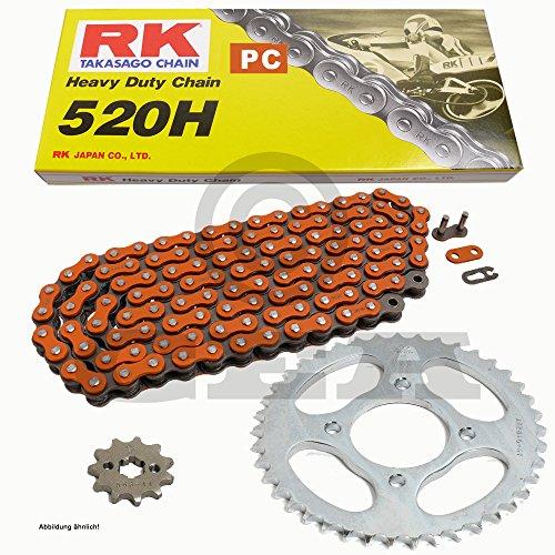 Chaîne de Kawasaki KLR 250 D 84–92, chaîne RK PC 520 H 104, ouverte, Orange, 15/44