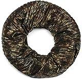 styleBREAKER Loop Schal im Antik Metallic Look mit Falten, Schlauchschal, Tuch, Unisex 01017072, Farbe:Schwarz-Silber-Gold-Bronze