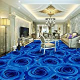 Lmopop Blaue Rose Fototapeten Wandbilder Anti Wear 3D Bodenfliesen Aufkleber Schlafzimmer Badezimmer PVC Selbstklebende Bodenbelag Tapeten250X175Cm