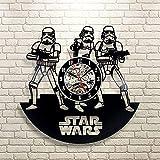 GuoEY Star Wars Empire Black Vinyl Record Uhr Vinyl Schwarz Kreative Kunst Hohlen Raum Dekoration Handgefertigt Wanduhr