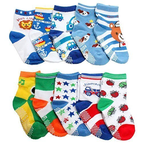Baby Boys NON SKID Socks Multicoloured One Size Age 1 2 3 Years old Set C (Pack of 10)