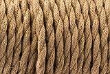 Cavo intrecciato in seta per illuminazione, 3 fili, vintage, colore marrone, corda flessibile, stile antico, in tessuto