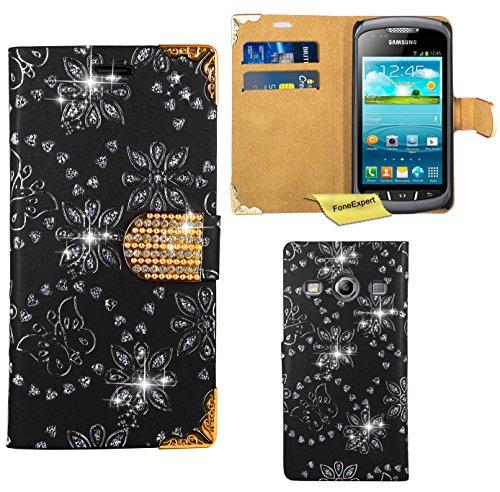 Preisvergleich Produktbild Samsung Galaxy Xcover 2 Handy Tasche, FoneExpert® Bling Luxus Diamant Hülle Wallet Case Cover Hüllen Etui Ledertasche Premium Lederhülle Schutzhülle für Samsung Galaxy Xcover 2 S7710 (Schwarz)