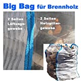 2 x Hochwertiger Holz Big Bag speziell für Brennholz * Holzbag, Woodbag, Brennholzsack * 100x100x160cm * Netzgittergewebe * Holz trocknen + transportieren